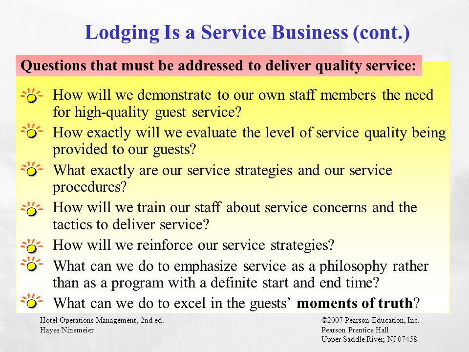Lodging Is a Service Business (cont.)