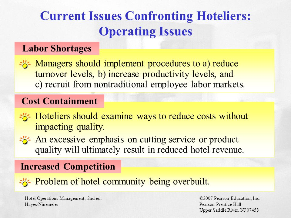Current Issues Confronting Hoteliers: Operating Issues
