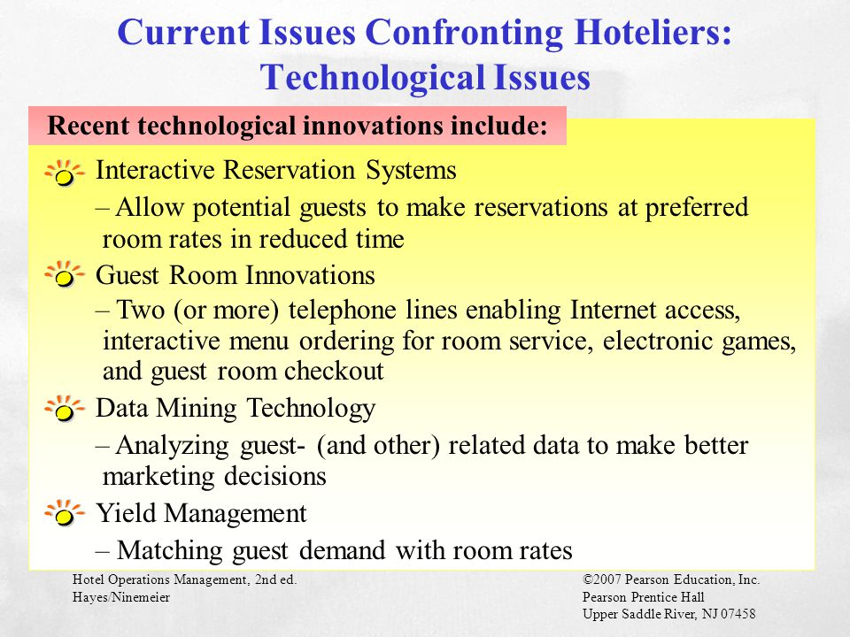 Current Issues Confronting Hoteliers: Technological Issues