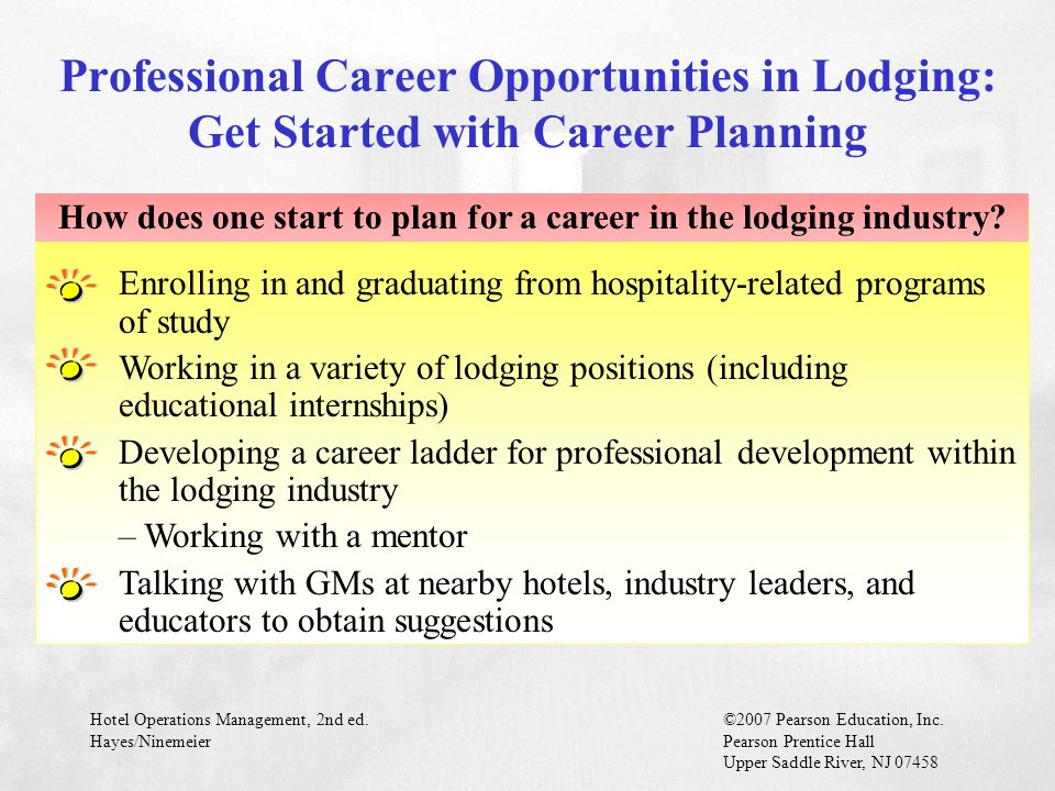 How does one start to plan for a career in the lodging industry