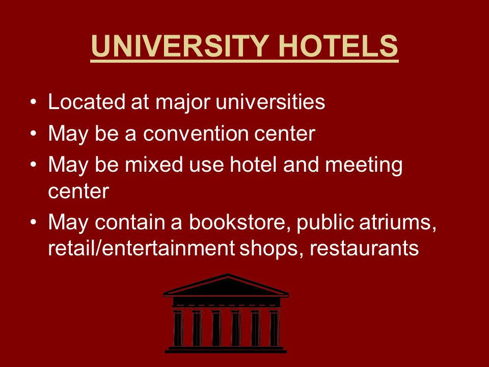 UNIVERSITY HOTELS Located at major universities