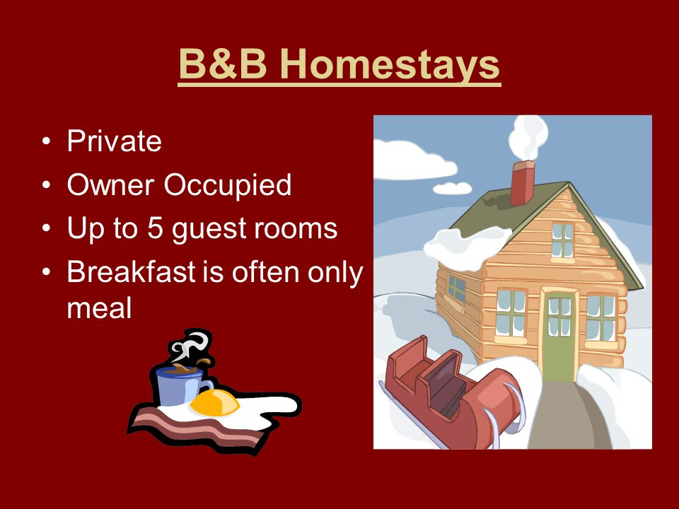 B&B Homestays Private Owner Occupied Up to 5 guest rooms