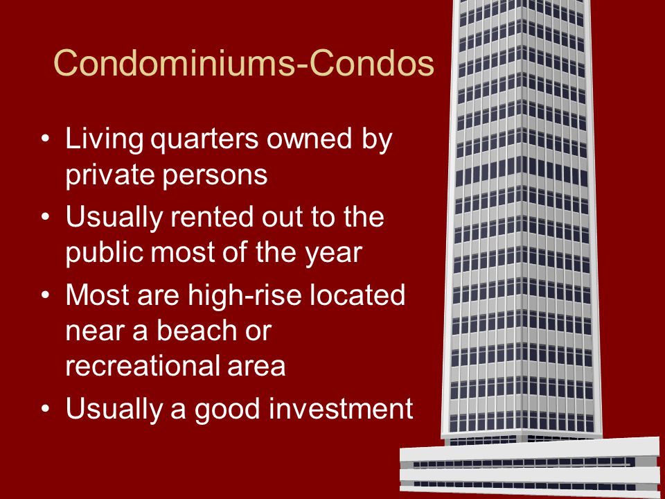 Condominiums-Condos Living quarters owned by private persons
