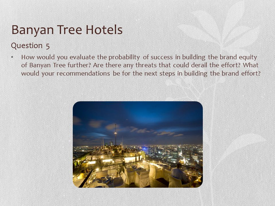 banyan tree brand expansion essay The launch of banyan tree hotels marketing essay  international expansion possible  of banyan tree likewise, the strong brand equity and human efforts bthr .