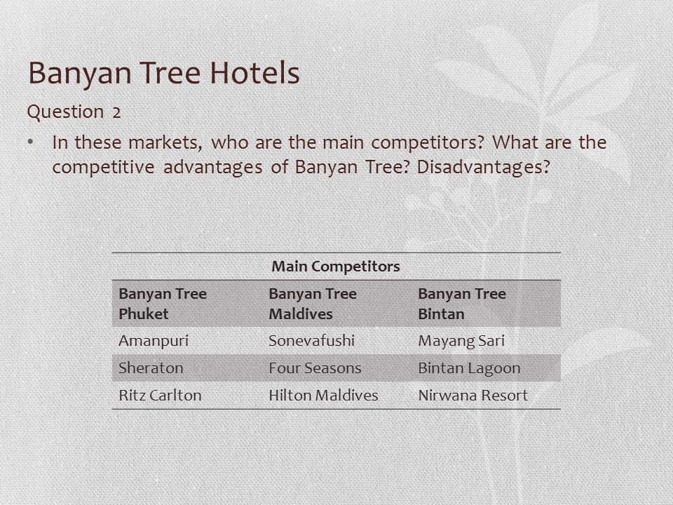 """market segmentation for the banyan tree hotels and resorts Central theme: """"the romance of travel and the beauty of discovering the world""""banyan tree targeted the higher end of the luxury resorts market angsana was more mainstream and contemporary, targeting the wider market  the colours of angsana range of boutique hotels catered specifically to the soft adventure tourism segment."""