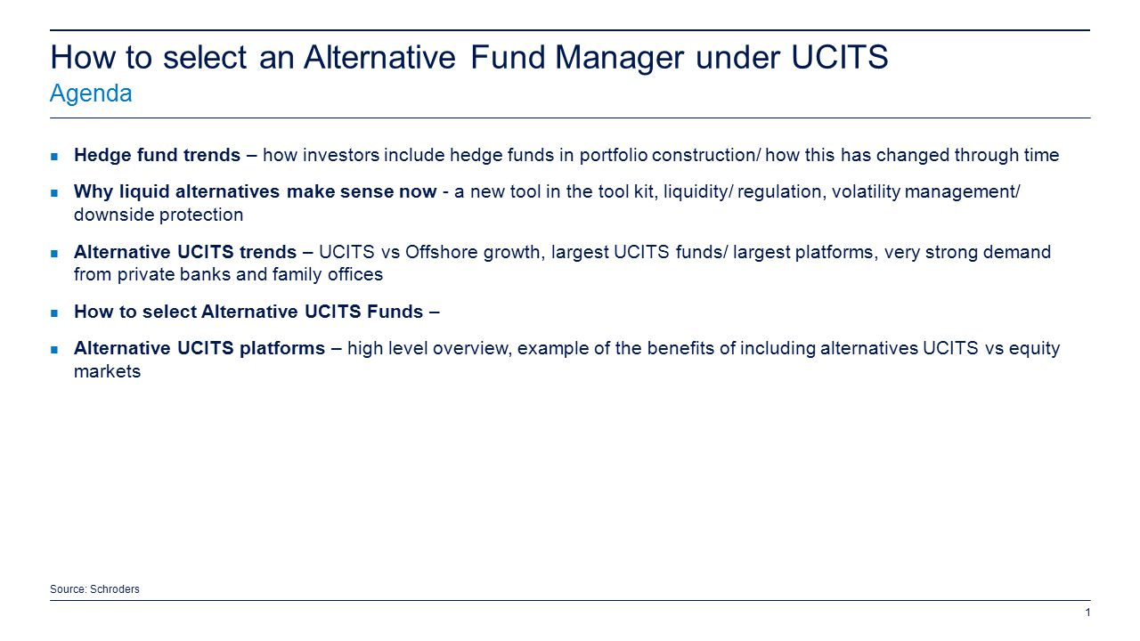 How to select an alternative fund manager under ucits ppt video online download - Family office vs hedge fund ...