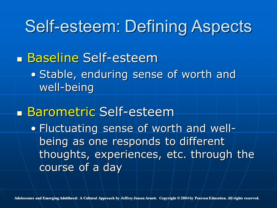 defining self esteem The feeling self: self-esteem learning objectives define self-esteem and explain how it is measured by social psychologists.