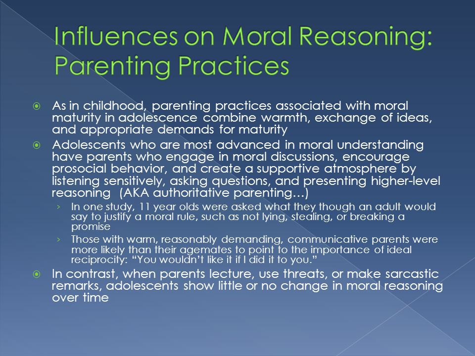 individual influence of moral reasoning Our culture says slavery is wrong, and our moral code agrees culture influences morality, and morality influences culture cultural influence on morals.