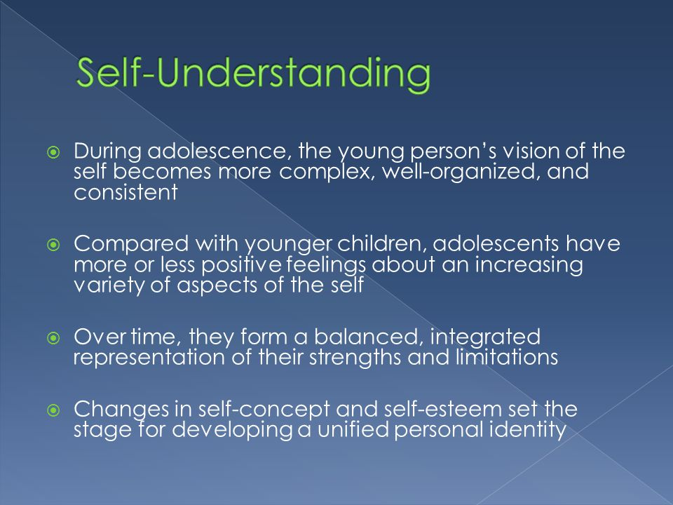 an analysis of self and identity in a person developing an understanding of themselves Self, the cognitive response to the question of identity: who am i  themselves,  to evaluate the distinguishing dimensions of in-groups as less nega-   collectively shared, originating and developing via social interaction and com-   the concept of role identities, the characters a person develops as an.