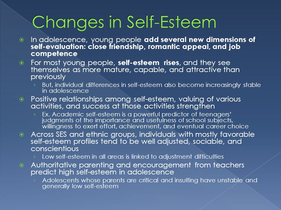 social class and self esteem among adolescents Weight status and body image perceptions in adolescents: norman gj, zabinski mf, calfas k, patrick k body image and self-esteem among adolescents undergoing an the effects of a 6-month exercise intervention programme on physical self-perceptions and social physique anxiety.