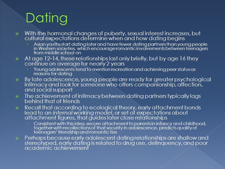 what is the average age for dating