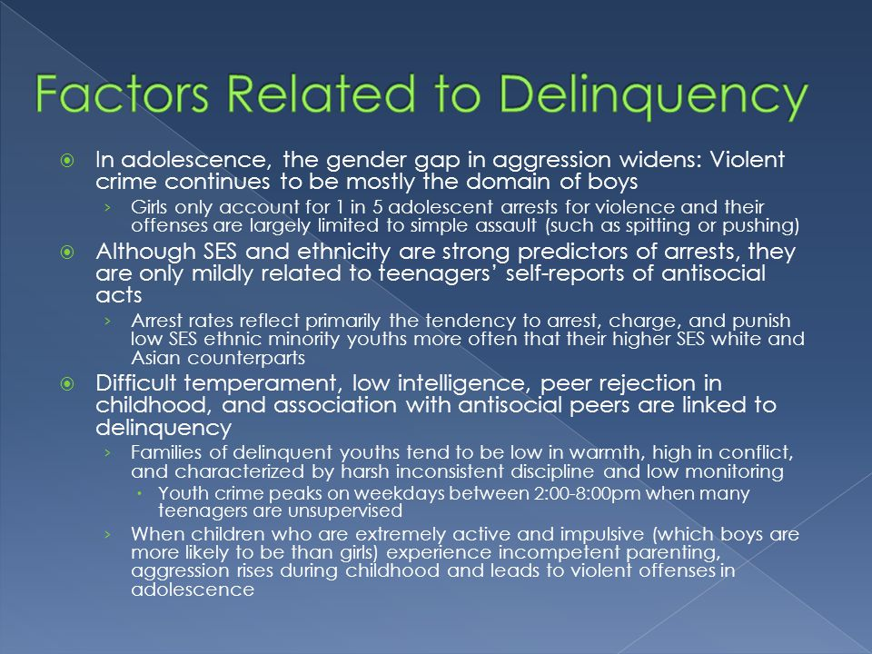 investigating related factors to teenagers' delinquency Risk factors for delinquency: an overview 2 prompted discussion and investigation into influences that may provide a buffer between the family- and peer-related risk factors are grouped under the social category) because an exhaustive.