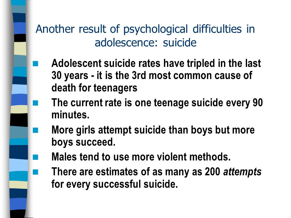 Many factors in adolescent suicide
