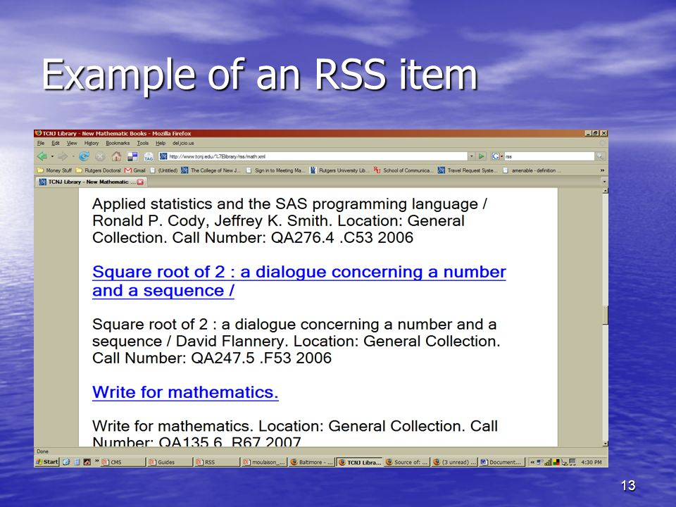 Example of an RSS item