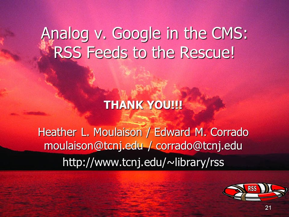 Analog v. Google in the CMS: RSS Feeds to the Rescue!