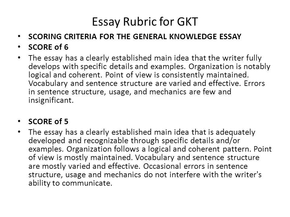 literature essay rubric college