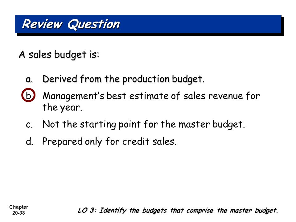 The Sales Budget Is Derived From The Production Budget