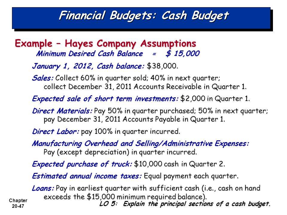 accounting budget and minimum cash balance The difference between the available cash at the beginning of an accounting period  a cash flow budget  the minimum cash balance and the cash-flow.