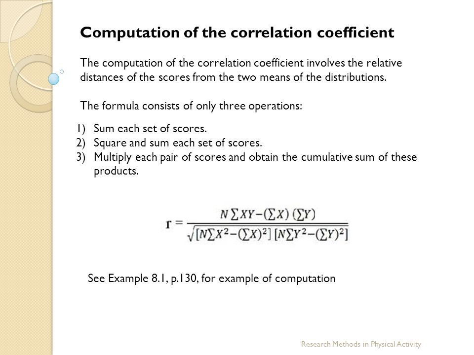 Computation of the correlation coefficient