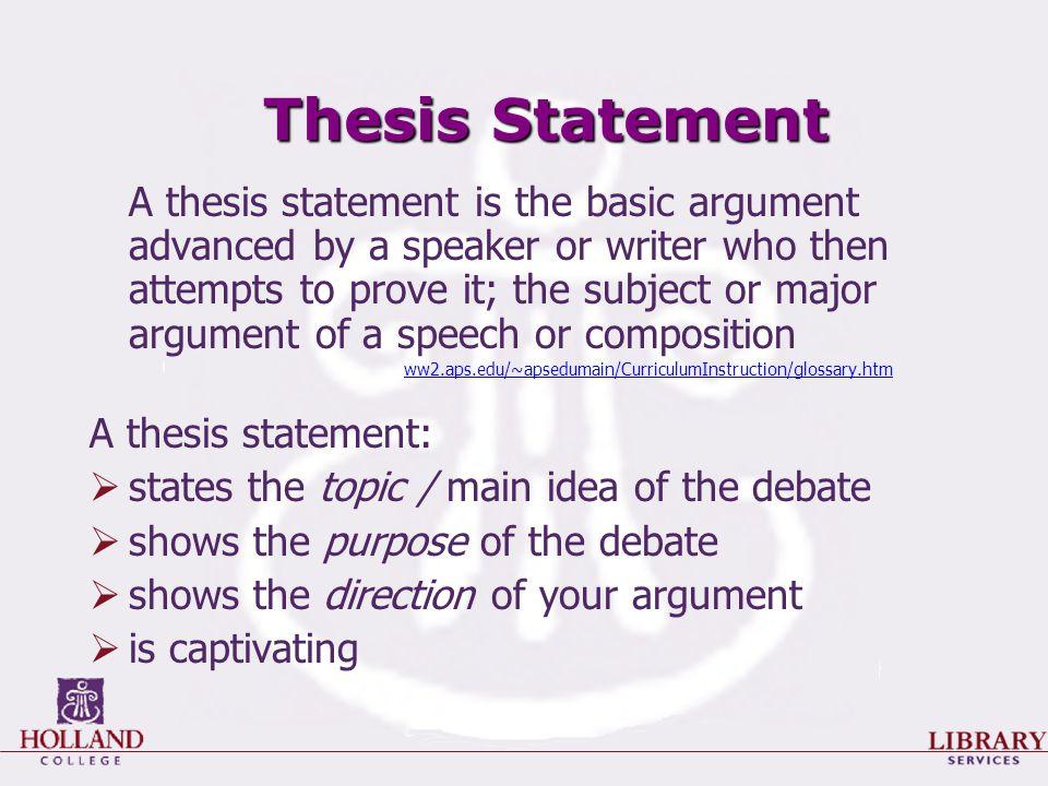 debate thesis statement
