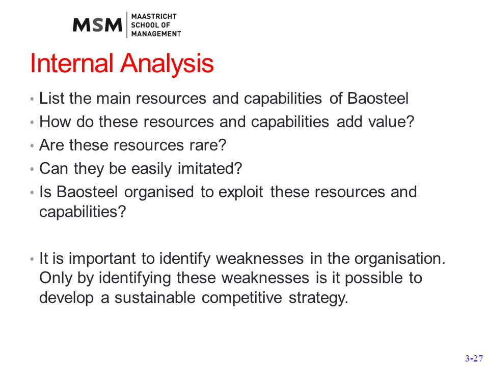 1 Internal Analysis: Resources, Capabilities, Competencies, and Competitive Advantage.