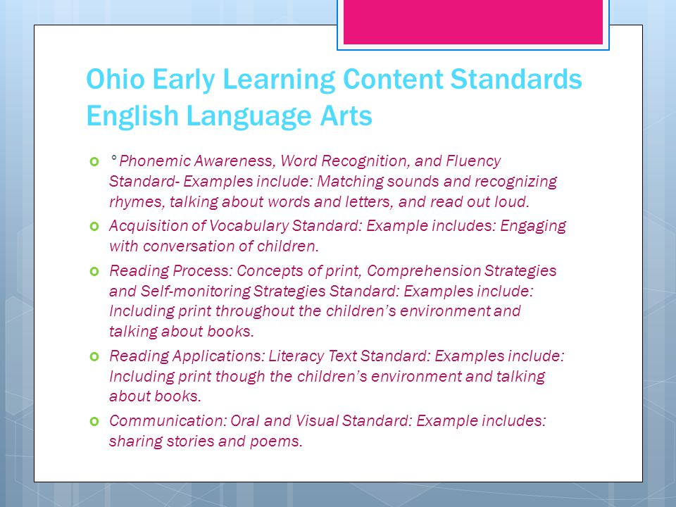 Ohio Early Learning Content Standards English Language Arts
