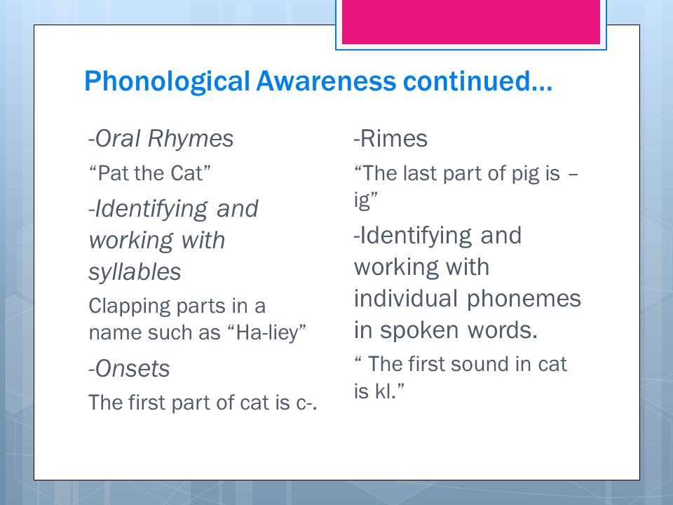 Phonological Awareness continued…