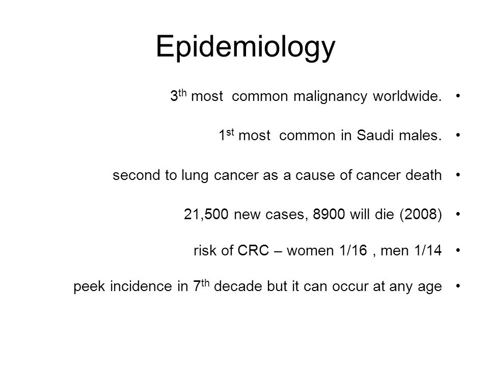 Epidemiology 3th most common malignancy worldwide.