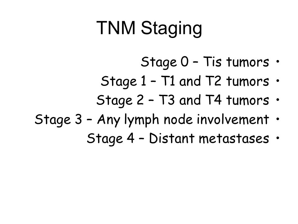 TNM Staging Stage 0 – Tis tumors Stage 1 – T1 and T2 tumors
