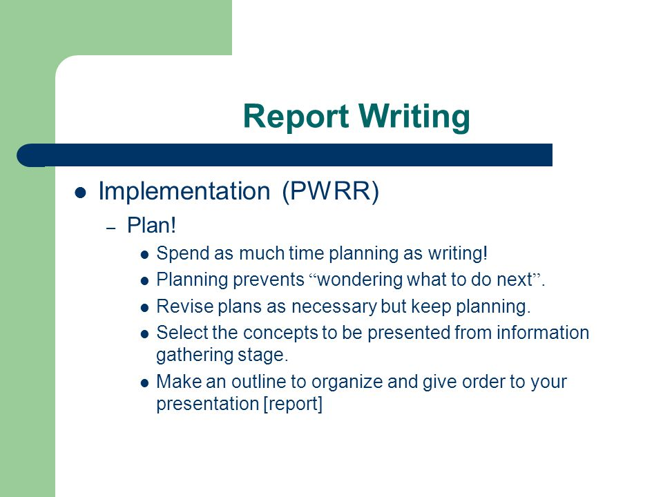 strategy implementation report write around