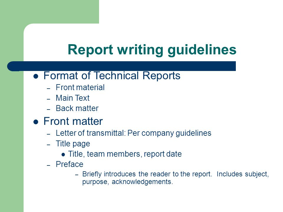 guidelines on writing a report