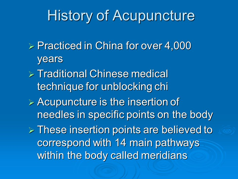 an analysis of the chinese medical technique of acupuncture The appearance and qualities of the tongue is a critical part of diagnosis in chinese medicine (tcm) it is especially important in confirming the tcm diagnosis it can be a strong indicator of a person's overall harmony or disharmony.