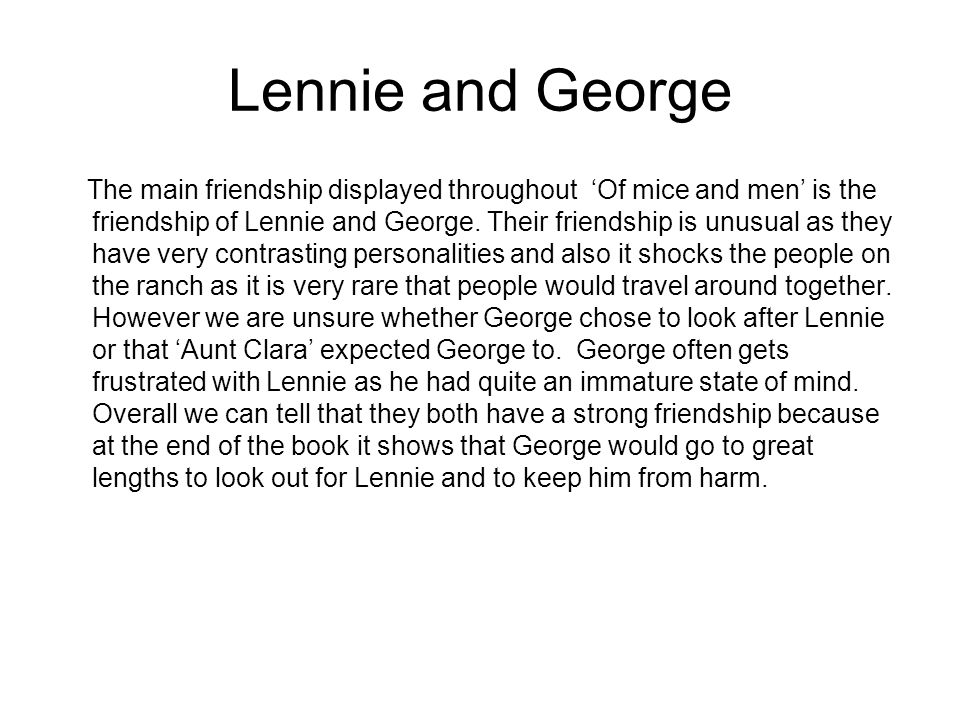 the relationship of george and lennie in a love story