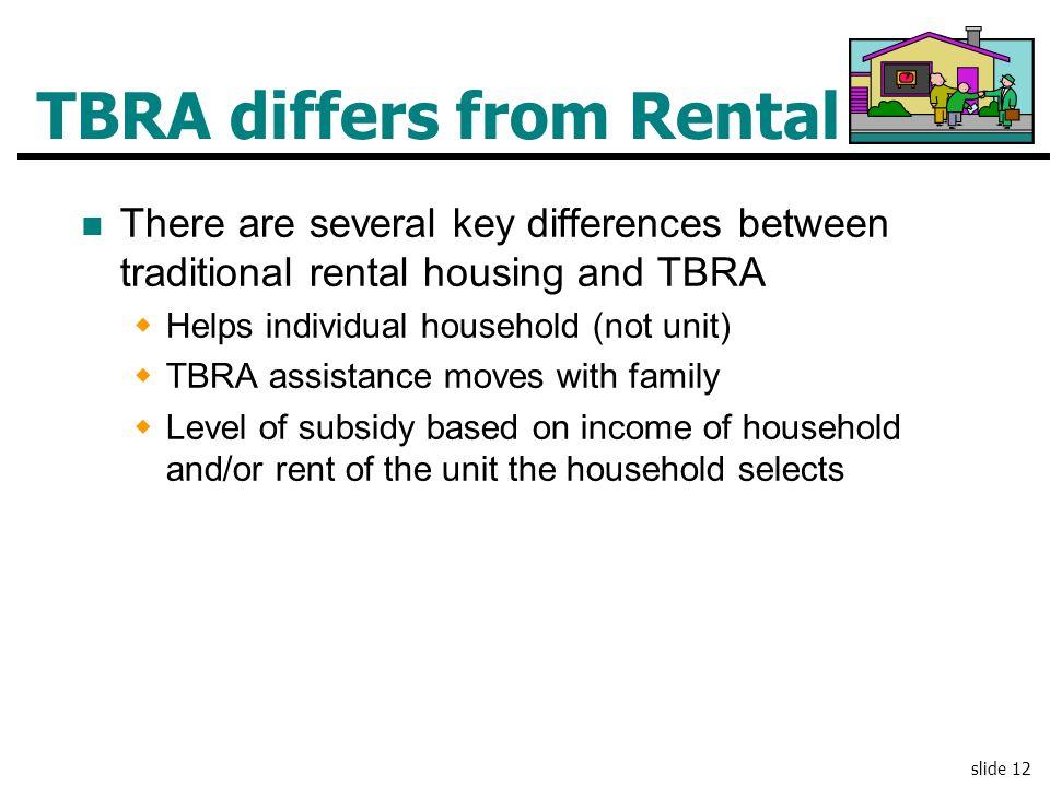 TBRA differs from Rental