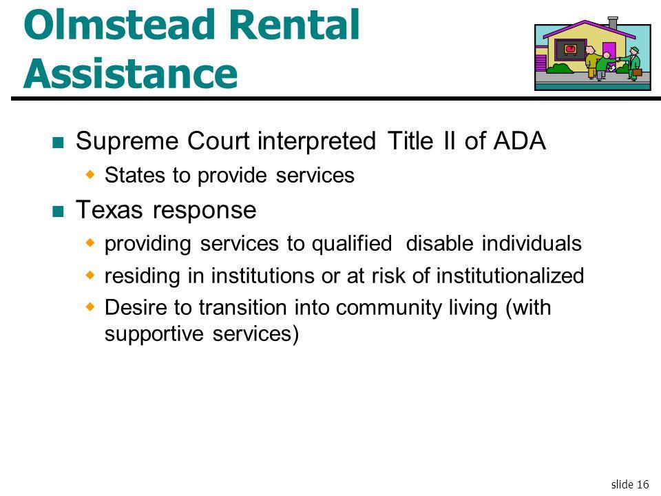 Olmstead Rental Assistance