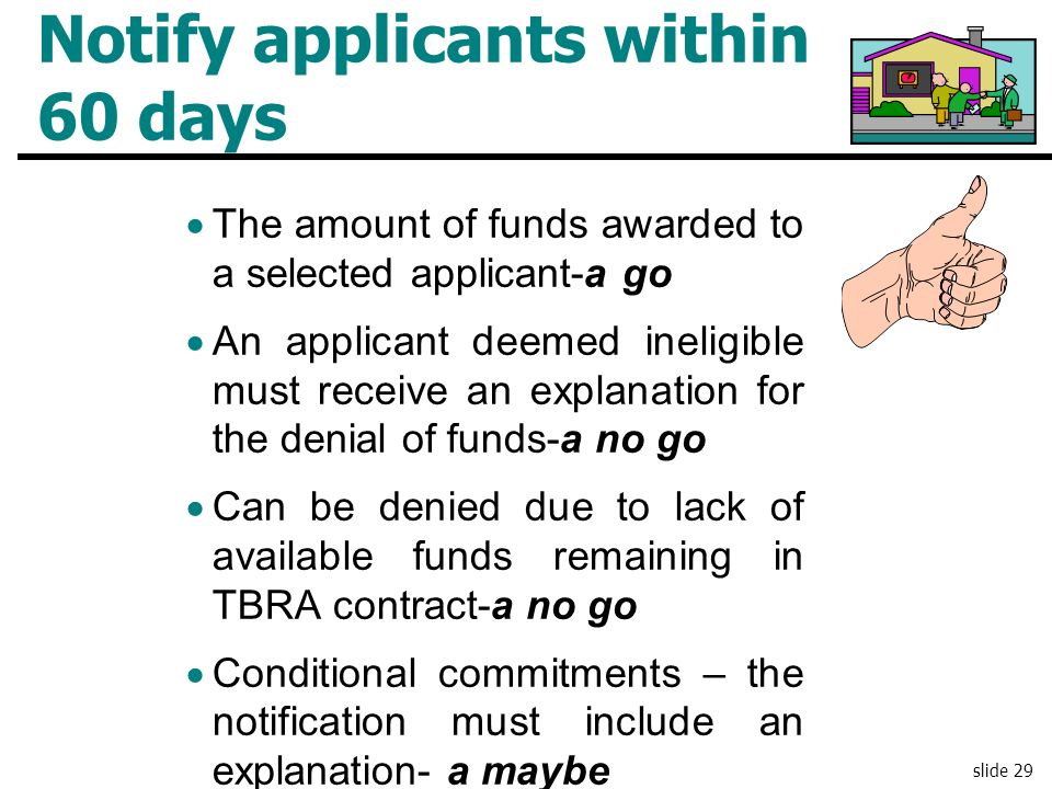 Notify applicants within 60 days