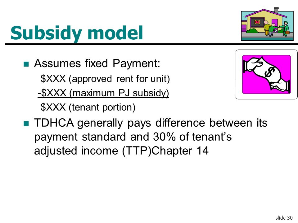 Subsidy model Assumes fixed Payment: