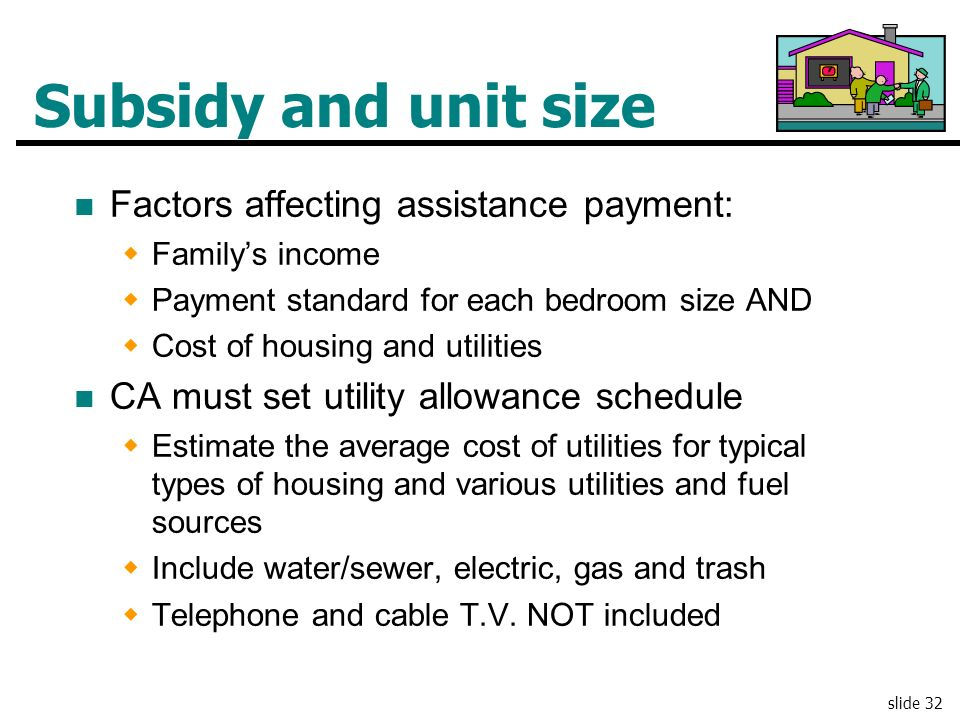 Subsidy and unit size Factors affecting assistance payment:
