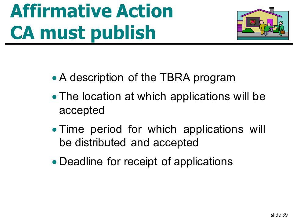 Affirmative Action CA must publish