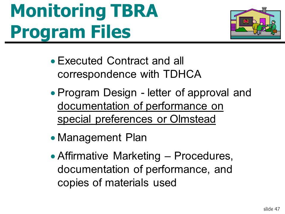 Monitoring TBRA Program Files