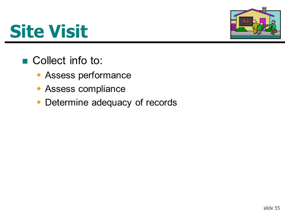 Site Visit Collect info to: Assess performance Assess compliance