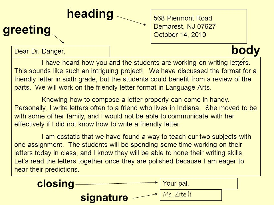 how to write a heading to a letter
