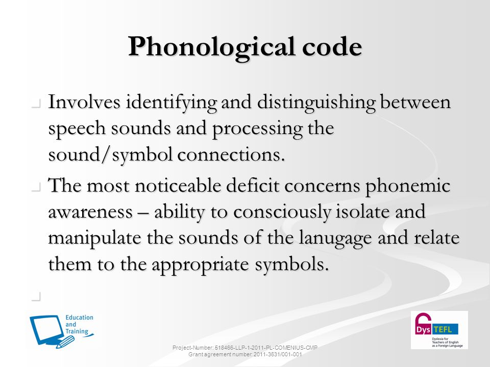Phonological code Involves identifying and distinguishing between speech sounds and processing the sound/symbol connections.