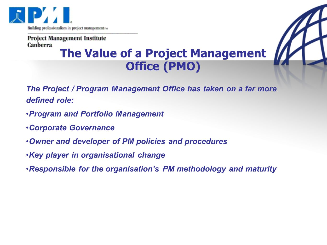 Emerging global trends in project management mal smith pmp project the value of a project management office pmo xflitez Image collections