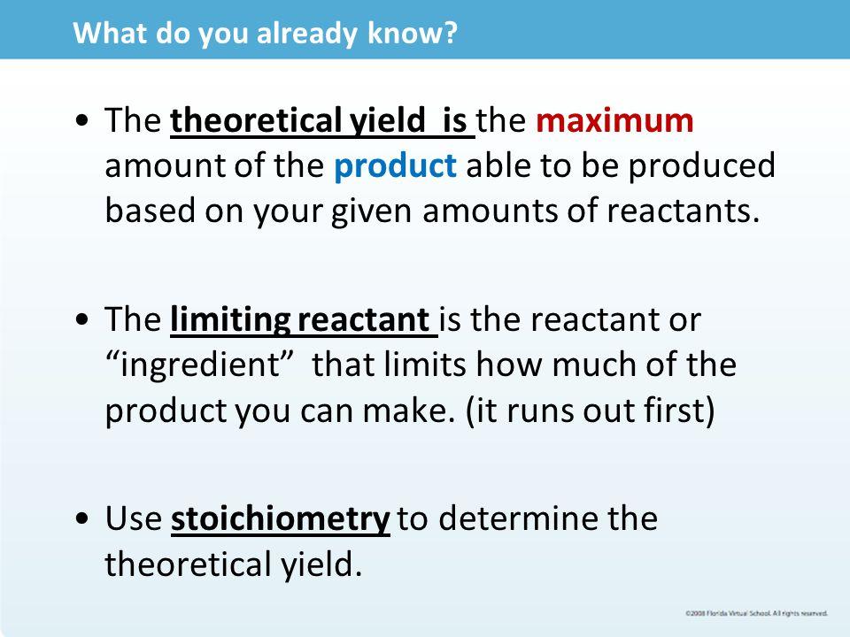 Lesson 4.08 Percent Yield.
