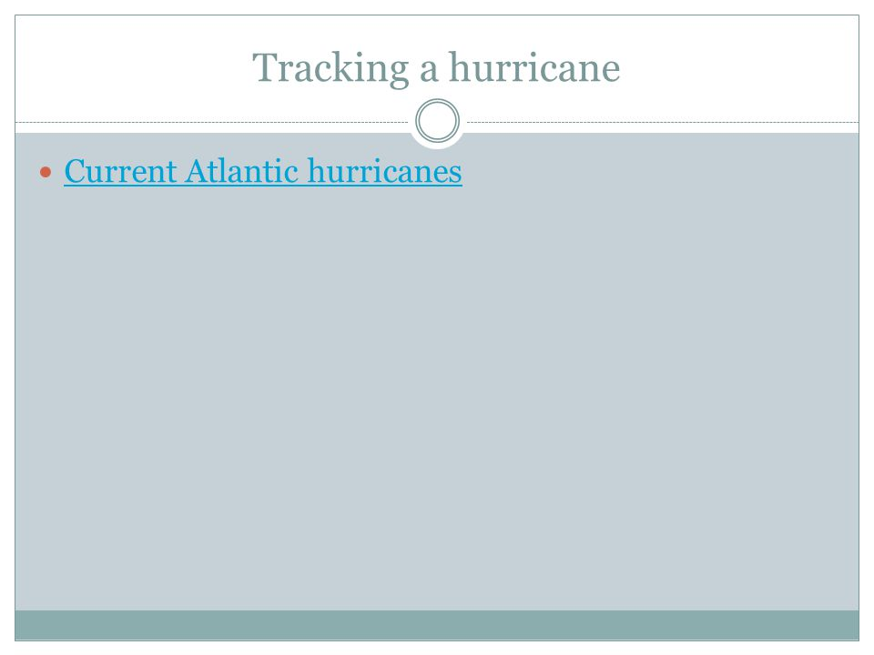 Tracking a hurricane Current Atlantic hurricanes