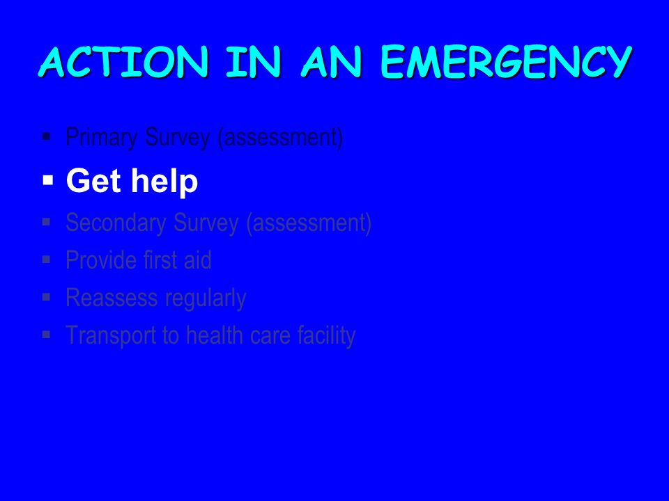 ACTION IN AN EMERGENCY Get help Primary Survey (assessment)