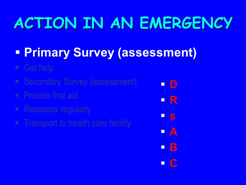 ACTION IN AN EMERGENCY Primary Survey (assessment) D R s A B C