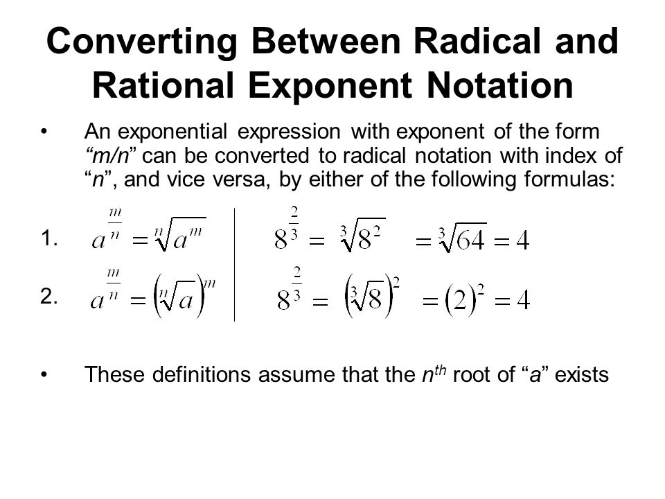 Exam 4 Material Radicals, Rational Exponents & Equations - ppt ...