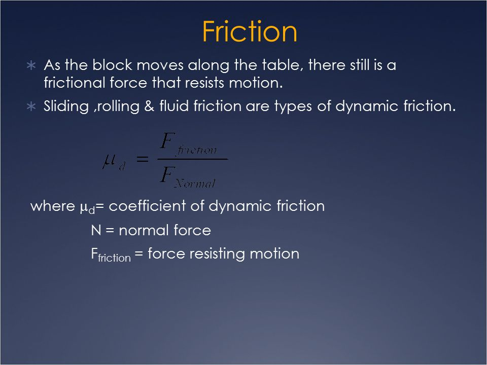 Friction its concept types applications ppt video - Dynamic coefficient of friction table ...